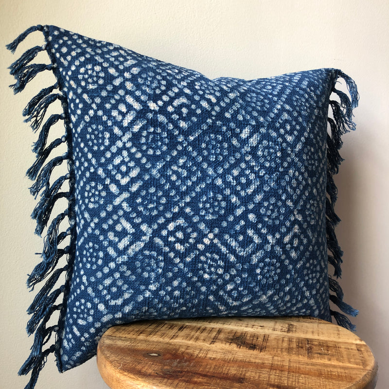 INDIGO DOT MUDCLOTH Style Pillow with tassels