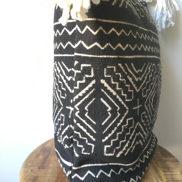 Black and White Tribal Print African Mudcloth Pillow Cover with Tassels