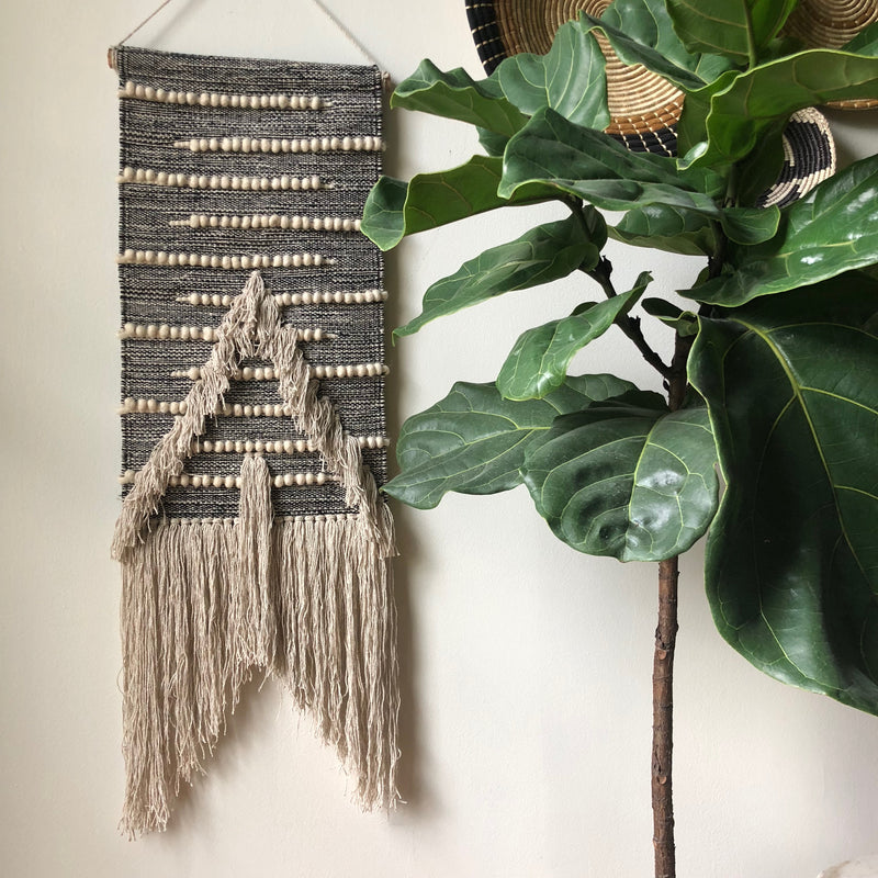 Black and Cream - Wall Hanging - Loosely Woven with a Tassel Bottom - Fringe Tassels