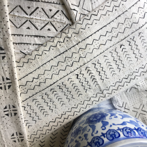 White & Black Mudcloth Fabric - SOLD PER SHEET
