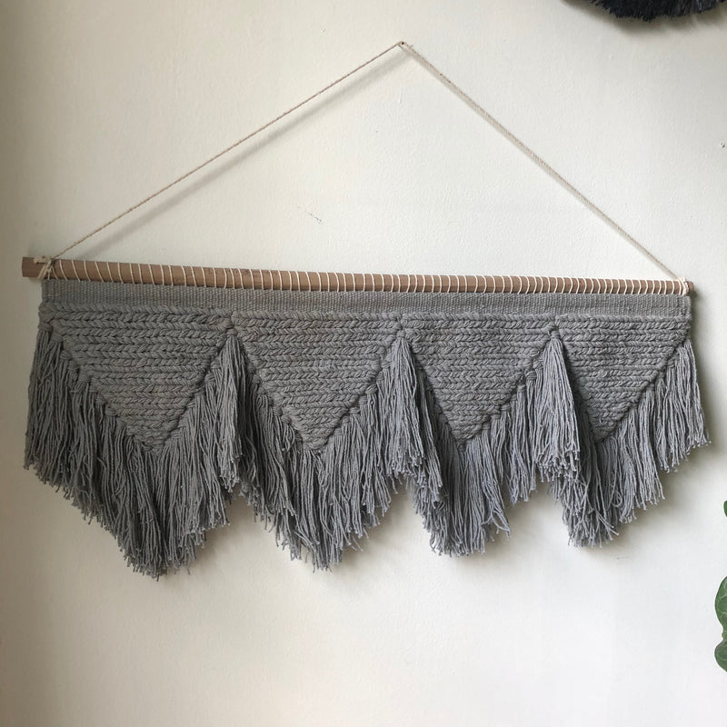 Gray Kilim - Wall Hanging - Loosely Woven with a Tassel Bottom - Twine on Top to Hang