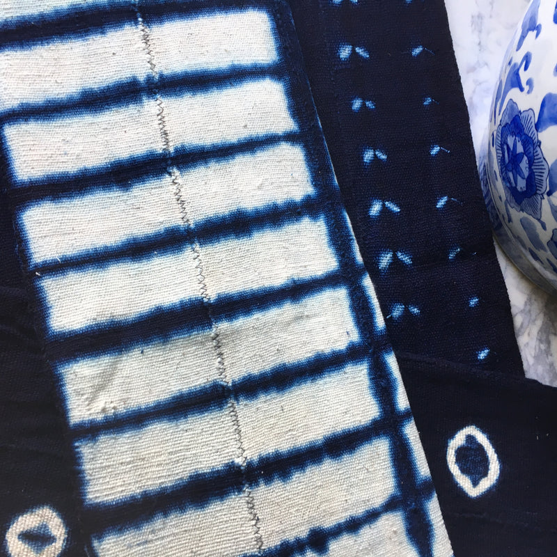 Shibori Indigo Mudcloth Fabric - SOLD PER SHEET