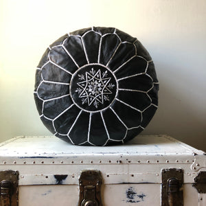 Round Hand Embroidered Black Lamb Leather Moroccan Pouf