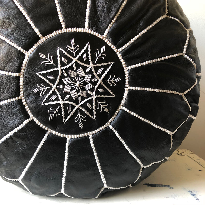 ROUND BLACK LEATHER EMBROIDERED POUF
