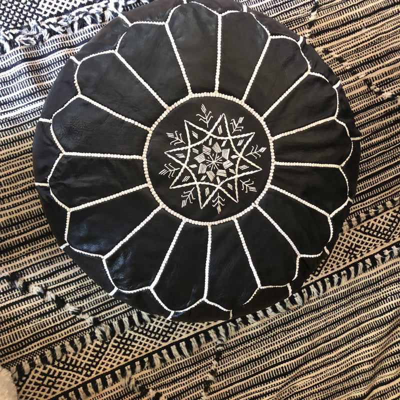 Round Pouf: Black Leather White Embroidery