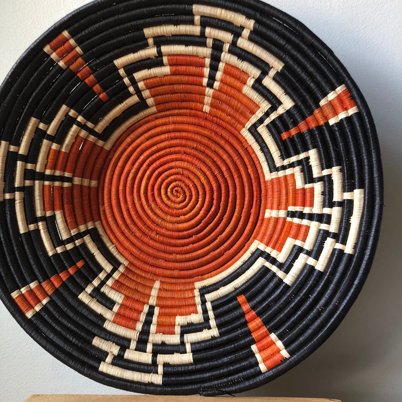 Orange & Black Ugandan Basket - 2 Sizes Available