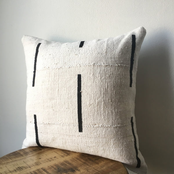 White and Black Dash or Dashed Line African Mudcloth Pillow Cover - Double sided and Insert Available