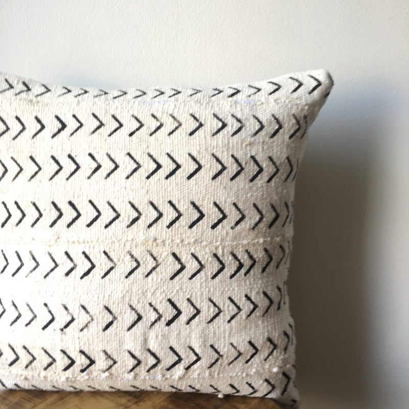 White and Black Arrow Print African Mudcloth Pillow Cover - Double sided and Insert Available