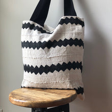 African Mudcloth Tote Bag - Black & White
