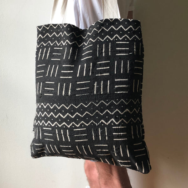 African Mudcloth Tote Bag - White & Black