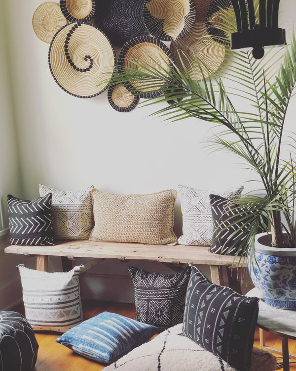 TRIBAL MUDCLOTH Pillow with tassels