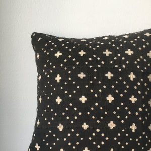 Black and White Small Cross & Dots African Mudcloth Pillow Cover - Custom Made