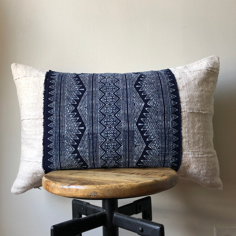 HMONG ON WHITE MUDCLOTH Pillow Cover
