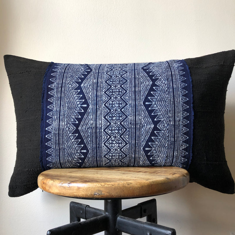 HMONG ON BLACK MUDCLOTH Pillow Cover