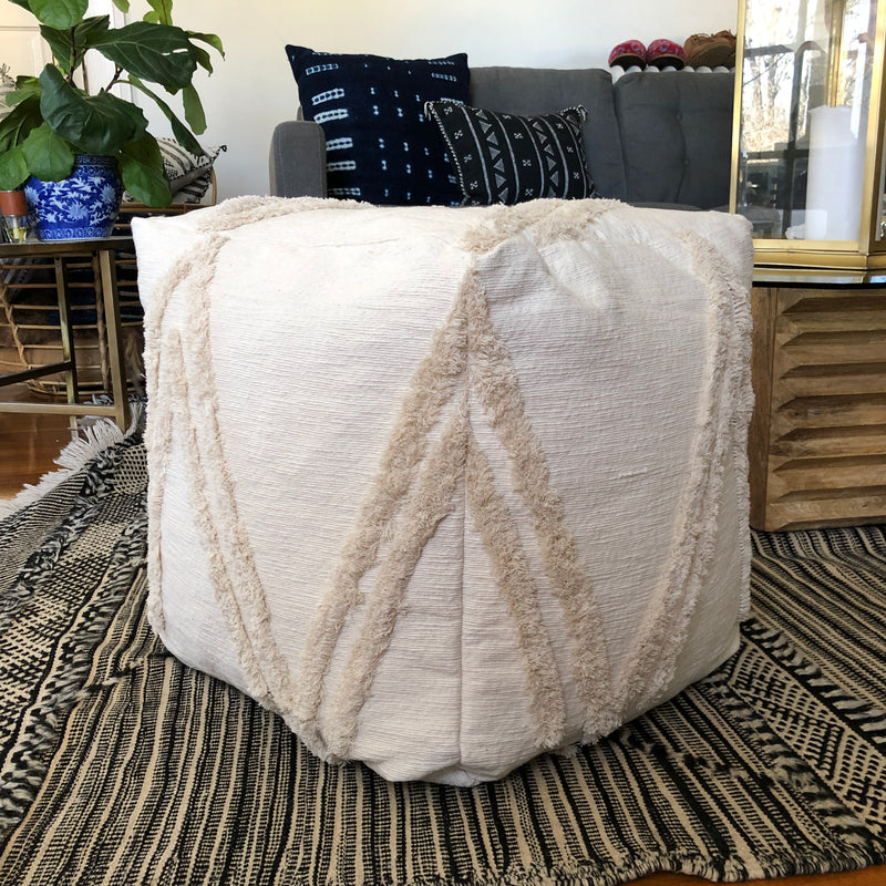 Cream Wedding Blanket Pouf Ottoman