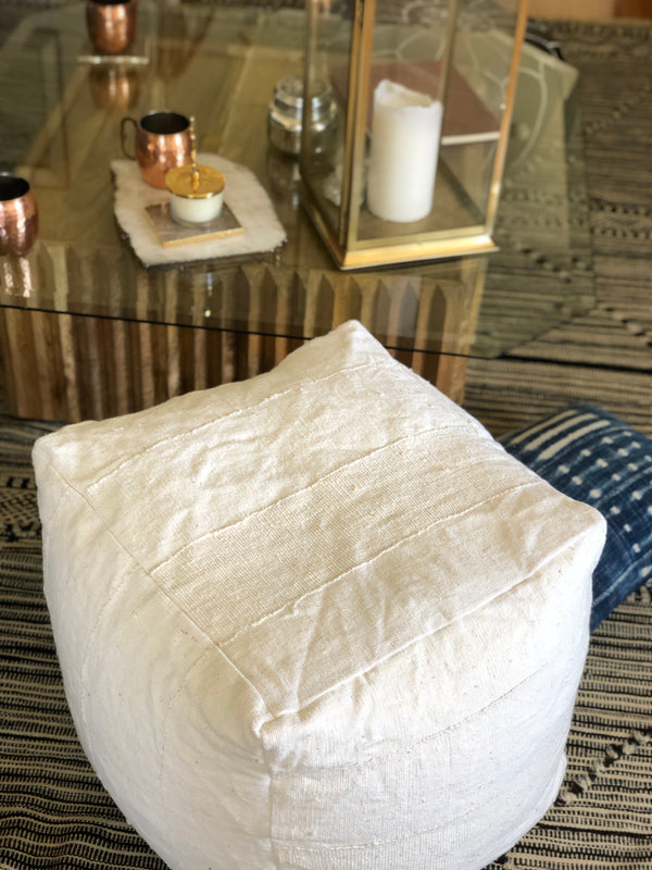 Square Mudcloth Pouf : Blank White