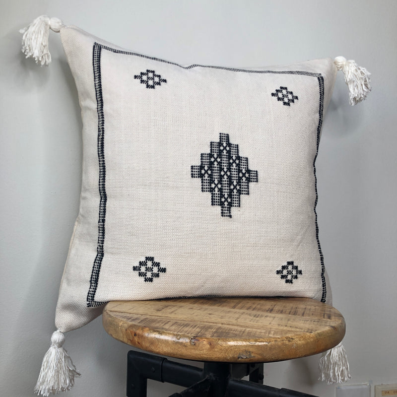 Black and White Cactus Silk Style 20 Inch Pillow Cover with Tassels