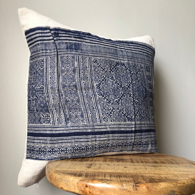 BLUE & WHITE HAMONG on MUDCLOTH Tribal Stripe Pillow
