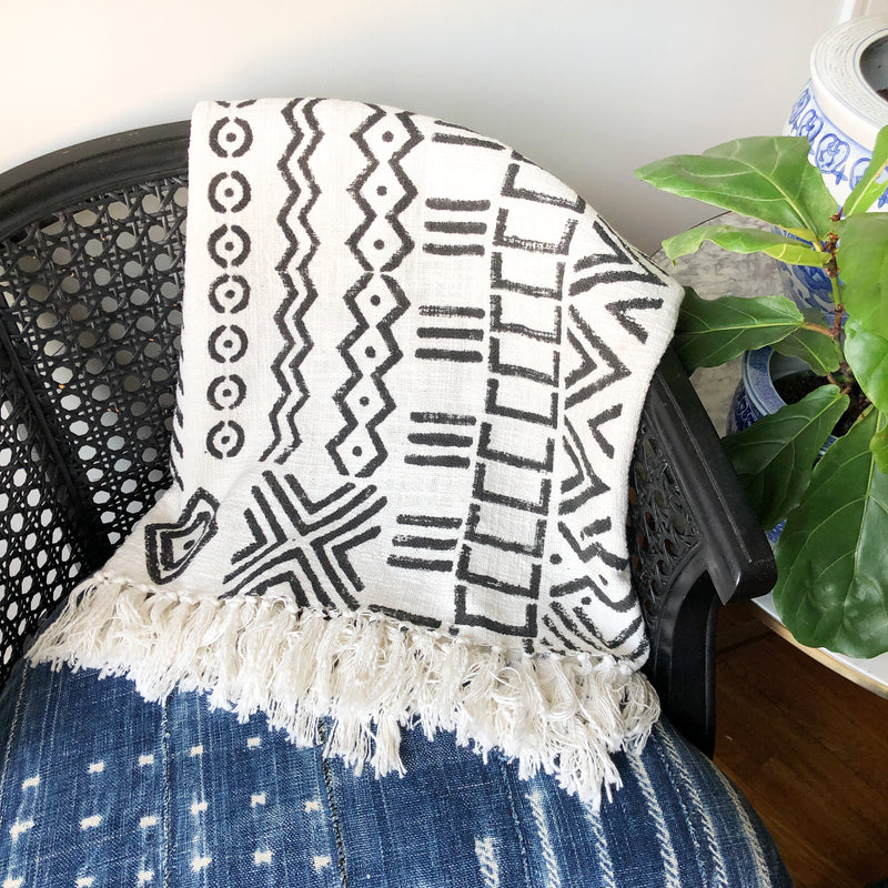 Black & White Mudcloth Throw Blanket with Tassels