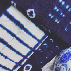 Shibori Indigo Blue & White African Mail Bambara Vintage Mudcloth Fabric / Textile / Throw / Wall Hanging - Imported from Africa