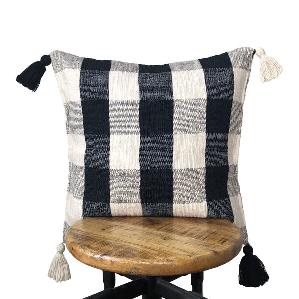 Black and White Plaid Pillow Cover with Tassels