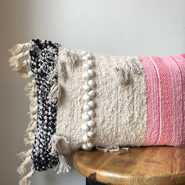 16 x 26 Pink, Cream & Black Fringe Lumbar Pillow