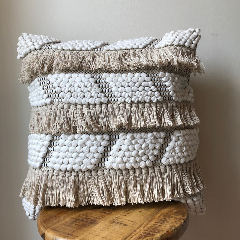20 x 20 Black & Cream Crochet Tassel Pillow