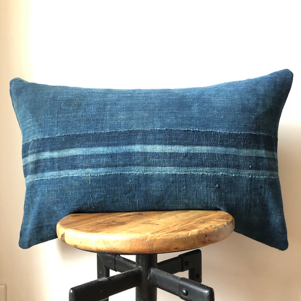 Indigo Striped MUDCOTH Pillow Cover