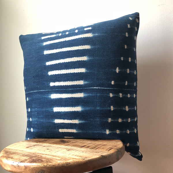 VINTAGE INDIGO MUDCLOTH Pillow Cover