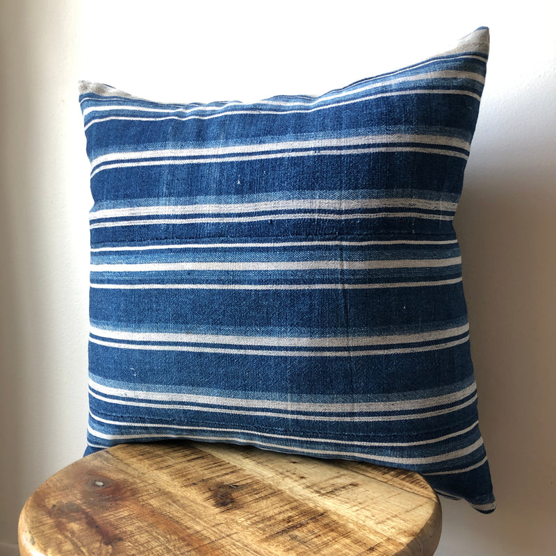 INDIGO BLUE STRIPED MUDCLOTH Pillow Cover
