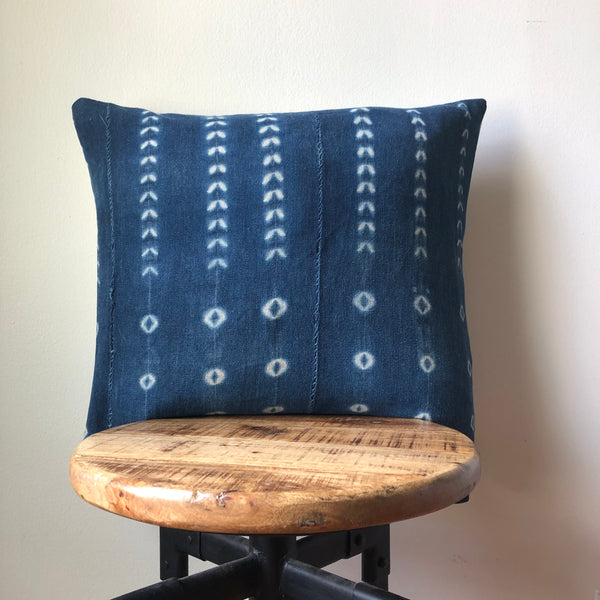 Striped Shibori Indigo Blue and White African Mudcloth Pillow Cover