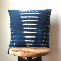 Handmade Striped Shibori Indigo Blue and White African Mudcloth Pillow Cover