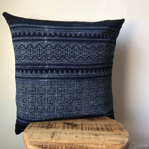 Handmade Striped Shibori Indigo Blue and Black African Mudcloth and Hamong Pillow Cover