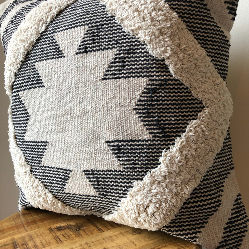 20 x 20 Black & Cream Southwestern Pillow