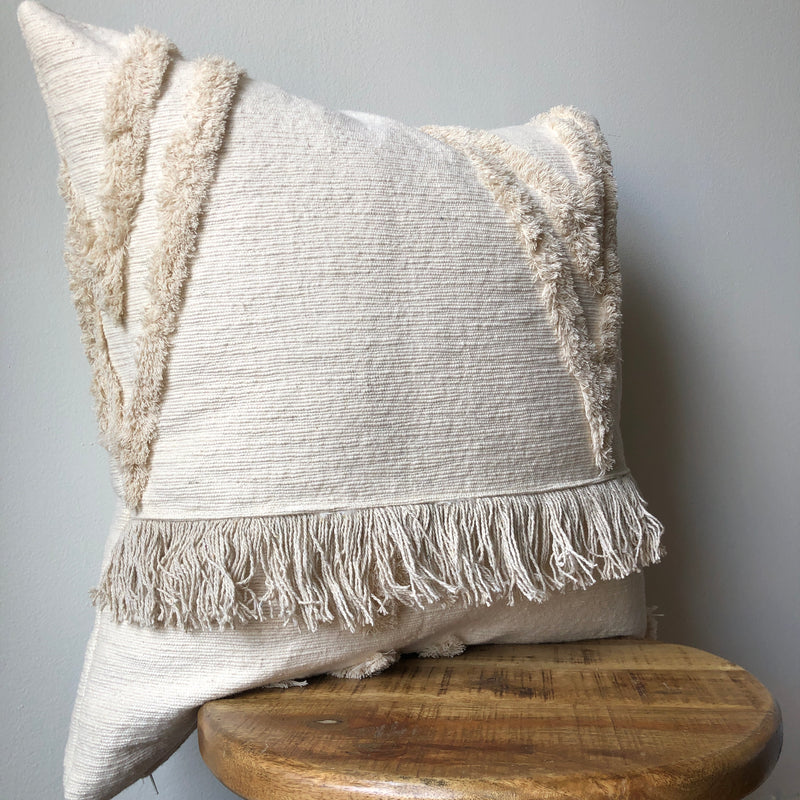 CREAM TASSEL WEDDING BLANKET PILLOW