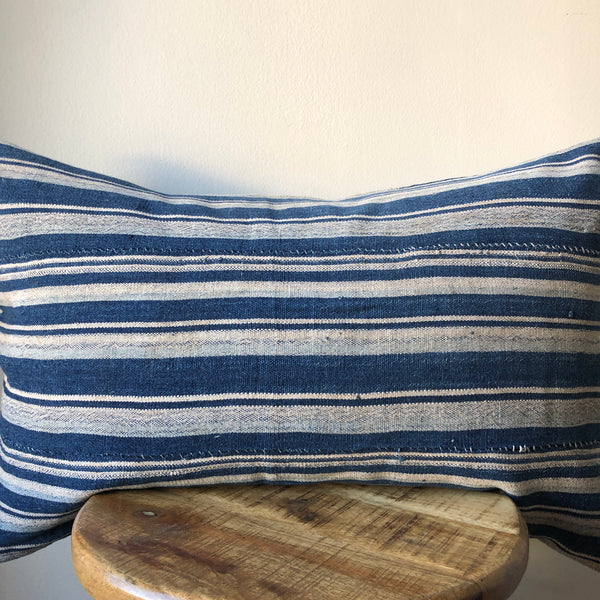 INDIGO BLUE STRIPED Lumbar Pillow Cover