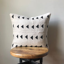 White with Black Triangle Print African Mudcloth Pillow Cover - Double sided and Insert Available