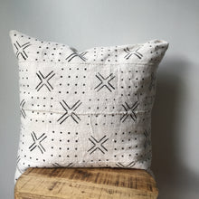 White & Black Small Cross & Dots African Mudcloth Pillow Cover - Custom Made