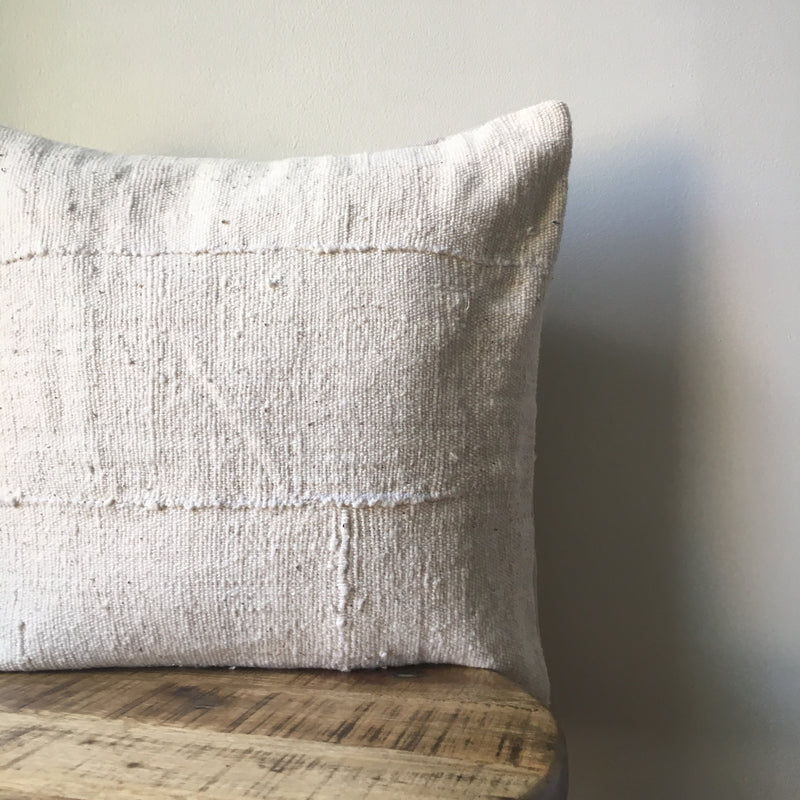 PLAIN WHITE MUDCLOTH Pillow Cover