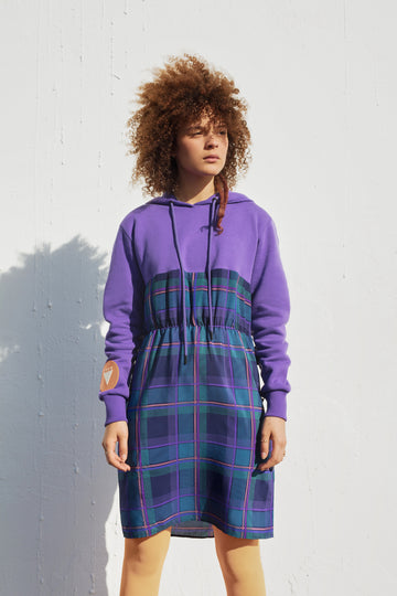 VIOLET HOODIE DRESS. SINGLE EMBODIMENT PIECE.