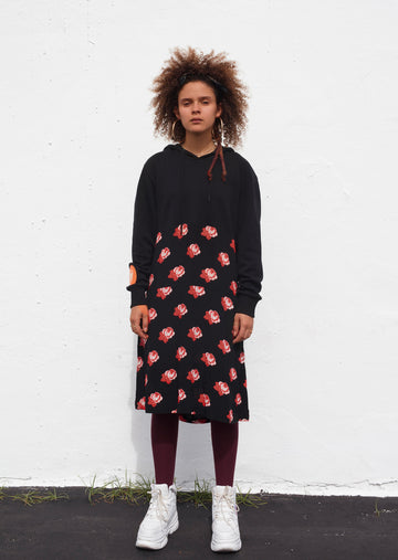 RED ROSE HOODIE DRESS. SINGLE EMBODIMENT PIECE.
