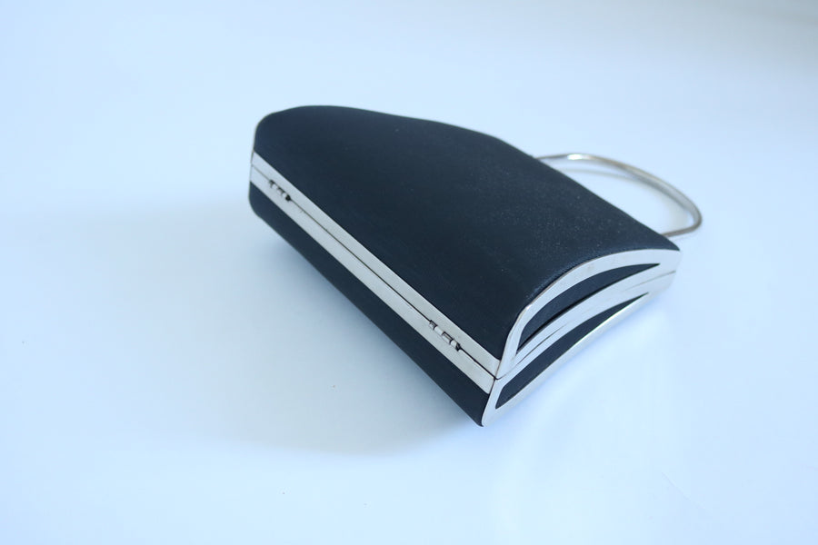 Small Nylon Evening Bag with Detachable Silver Chain