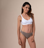 Brazilian-style briefs in natural fabric | Light brown