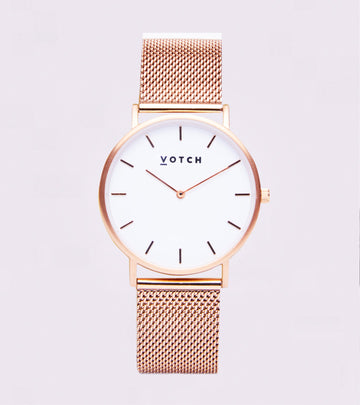 Rose Gold & White with Rose Gold Strap Mesh Classic 38mm