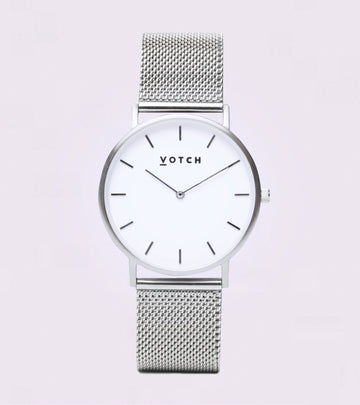 The Silver & White with Silver Strap Mesh Classic 38mm