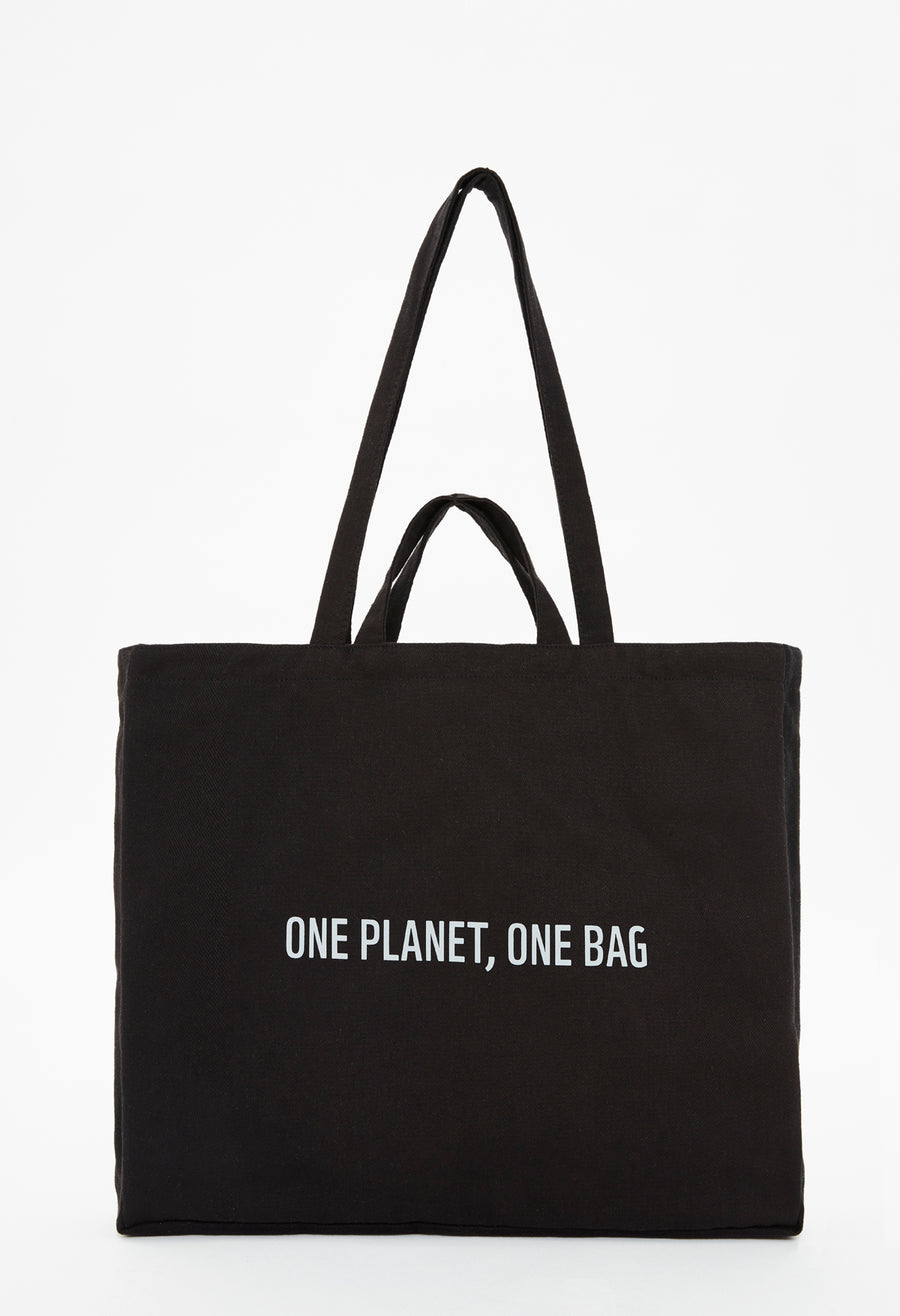 Official WWF Licensed Eco-friendly Reflector Slogan Printed Black Tote Bag