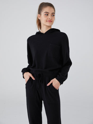100% Pure Cashmere Hoodie Lounge Crop Sweater
