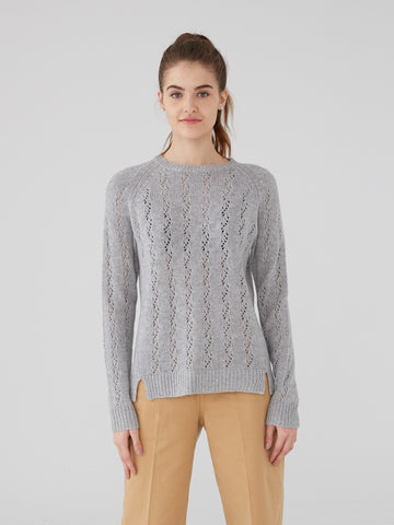 100% Pure Cashmere Pointelle Stitch Cashmere Sweater Chunky