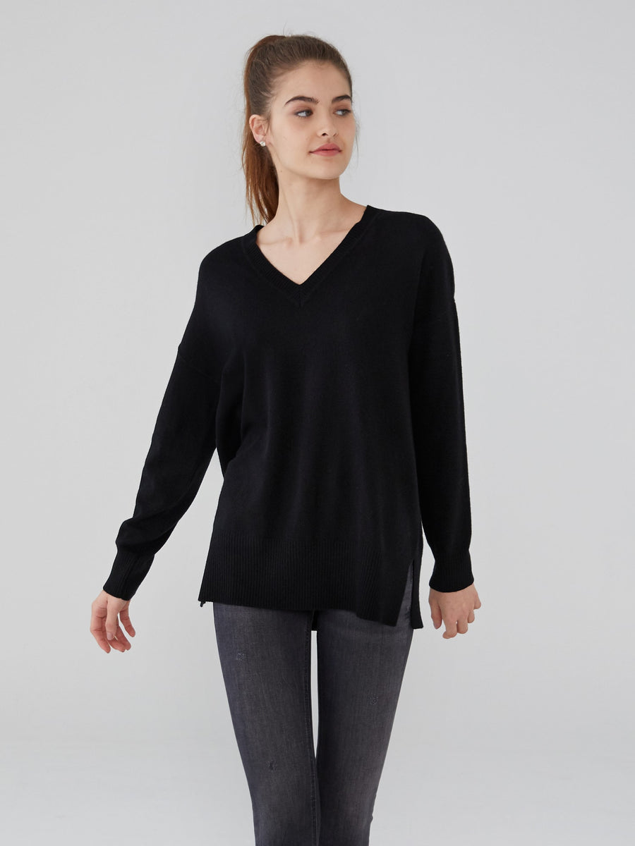 100% Pure Cashmere Oversized V Neck Cashmere Sweater