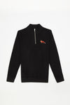 Official WWF Licensed Unisex Red Fox Embroidery Quarter Zip Super Soft Black Sweatshirt